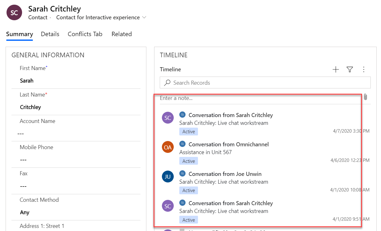 See Conversations in Dynamics 365 in other Apps from Omni Channel