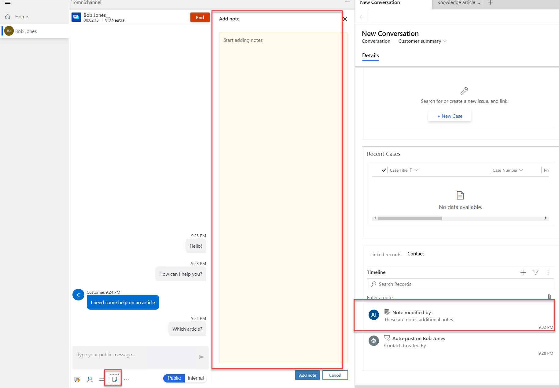 Adding Notes in Omni Channel Engagement